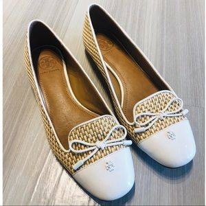 Tory Burch Leather & Straw Flats size 7